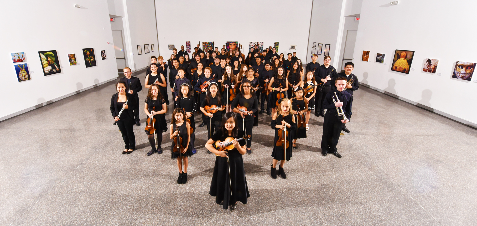 Members of the 2016 Young Artists Orchestra Symphony & Academy at the Studio Gallery in Las Vegas - Photo by Kevin Glover
